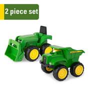 "John Deere 6"" Sandbox Toy Vehicle Set, Dump Truck and Tractor Toy Vehicles, 2 Pack, Green"