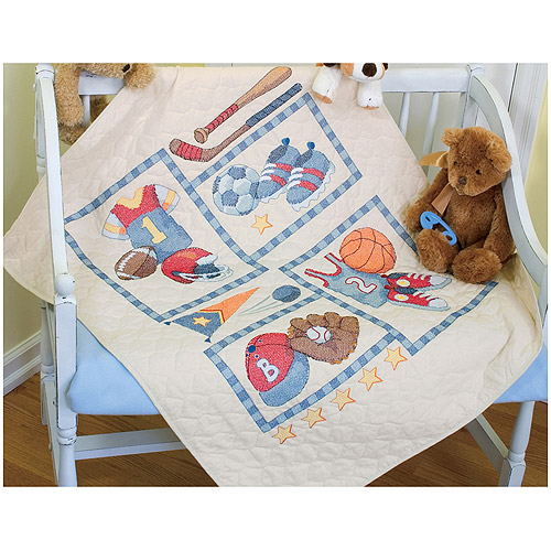 "Dimensions Baby Hugs ""Little Sports"" Quilt Stamped Cross Stitch Kit, 34"" x 43"""
