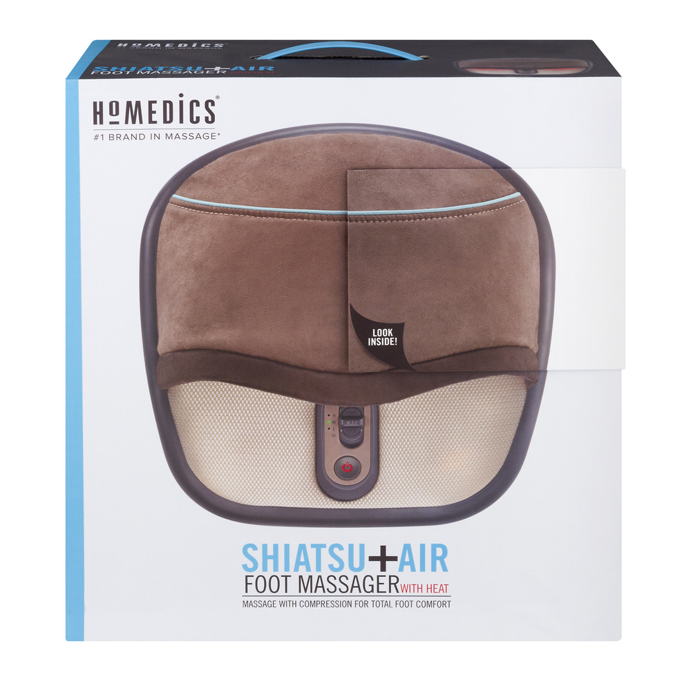 HoMedics - Air Compression and Shiatsu Foot Massager with Heat - Brown