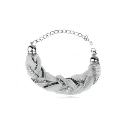 Twisting Cultured Faux Pearl Crystal Rhinestone Braid Design Fashion Bracelet