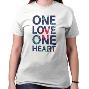One Love Heart Cute Shirt Bob Marley Funny Hippy Peace Music Ladies T-Shirt