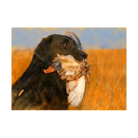 - Oil Painting Portrait Of Black Labrador With Duck Print Wall Art By Yarvet