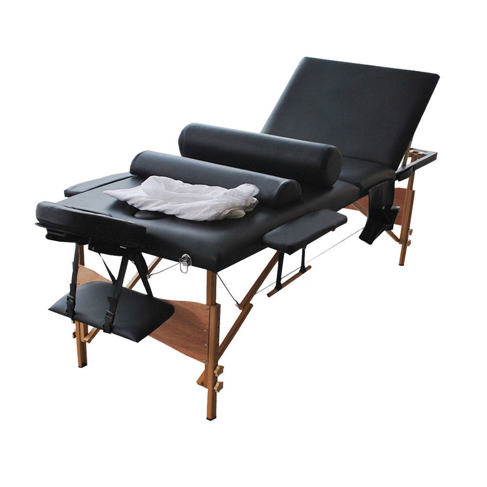 """Ktaxon 73""""-84""""L x 28""""W x 33""""H Length 3 Fold (Tri-Folding) Portable Wooden Stationary Massage Treatment Tables Bed Set, for Facial Spa (Black & White Optional)"""