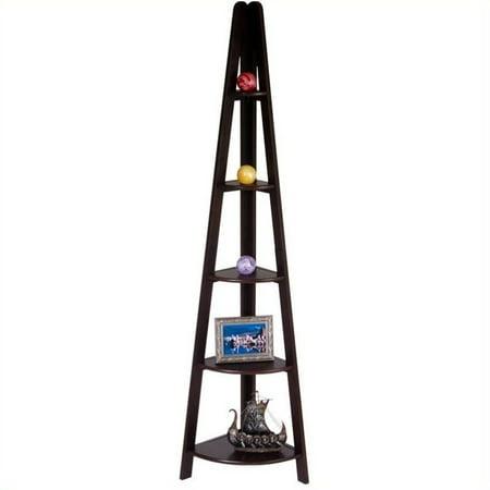 5-shelf Corner Ladder Bookcase, Espresso
