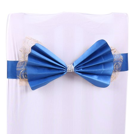 Holiday Bowknot Faux Diamond Decor Wedding Party Banquet Chair Cover Sash Bow Bands