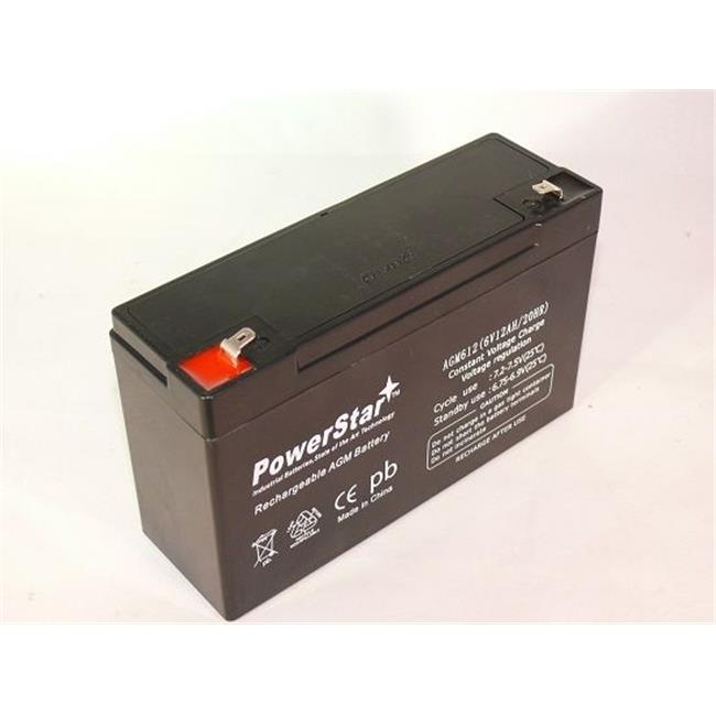 PowerStar AGM612-31 6V 12Ah Replacement LC-R0612P Black Medium VRLA Battery with F1 Terminal