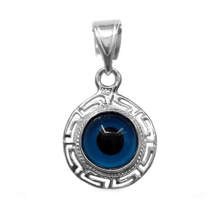 925 Sterling Silver Greek Key - Sterling Silver Greek Key Double Sided Evil Eye Pendant Charm