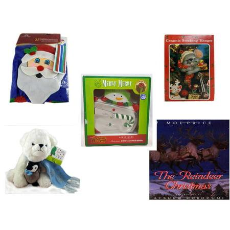 "Christmas Fun Gift Bundle [5 Piece] -  Time  Windsock Santa - Vintage Designed Stocking Hanger Mouse - Cracker Barrel Serveware Snowman Bowl & Spreader - Bearington White  Bear & Penguin Friend  11"""