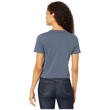 Alternative Heavyweight Recycled Cotton Cropped Pocket Tee Ombre Blue