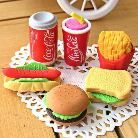 6pcs/Pack Cute Imitation Food Erasers Hamburger French Fries Hot Dog Sandwich Eraser Office Study Correction Supplies for Students OL Color:6 * Erasers](Food Erasers At Target)