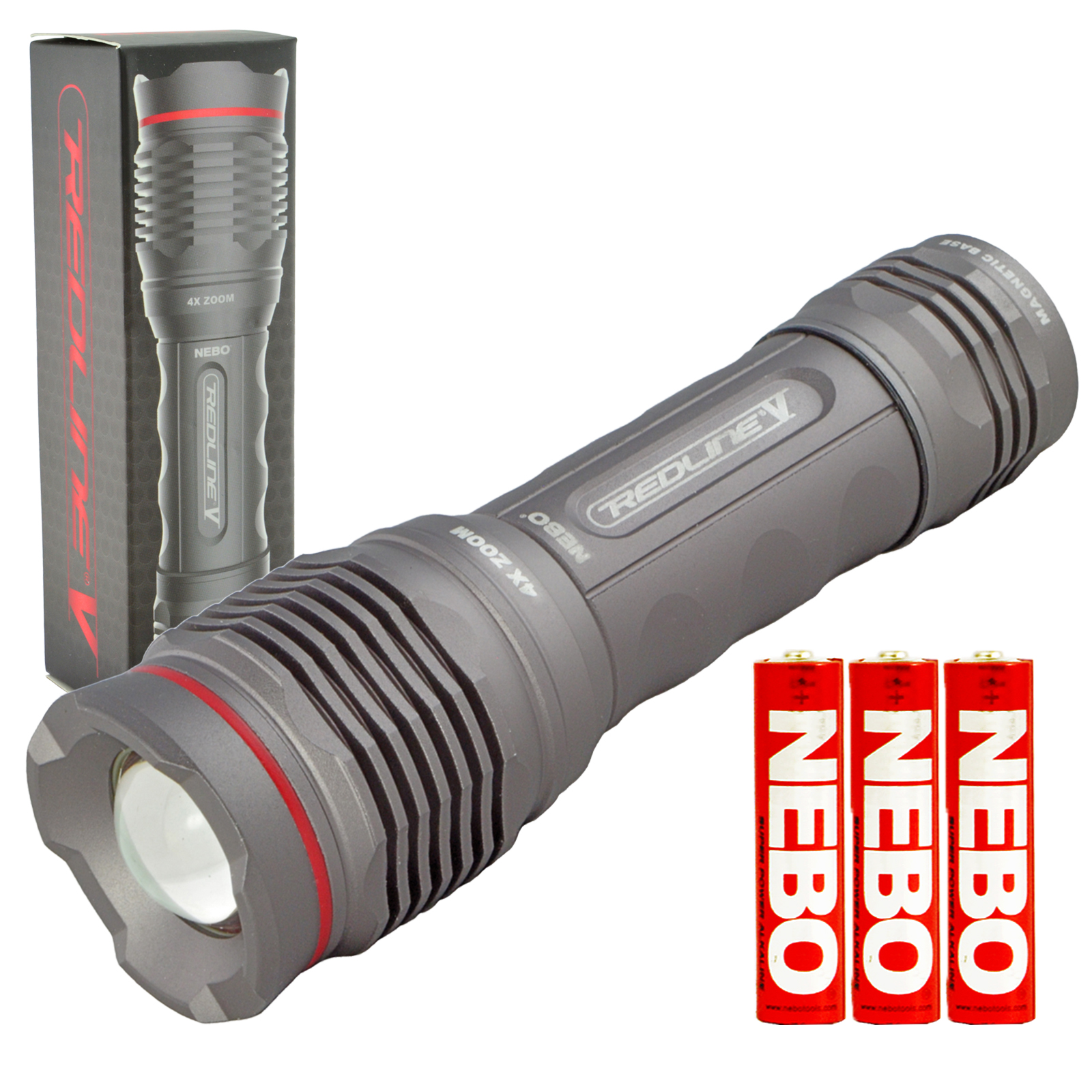 Nebo 6639 Redline V LED Flashlight Magnetic Base 4x Adjustable Zoom Waterproof