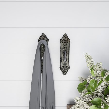 Decorative Key in Lock Design Hooks-Cast Iron Shabby Chic Rustic Wall Mount Hooks for Coats, Hats, Jewelry, and More by Lavish Home (Set of 2-White) (Hooks For Hats)