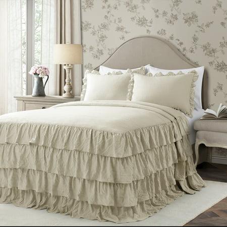 Lush Decor Allison Ruffle Skirt Polyester Bedspread, Full, Neutral, 3-Pc Set