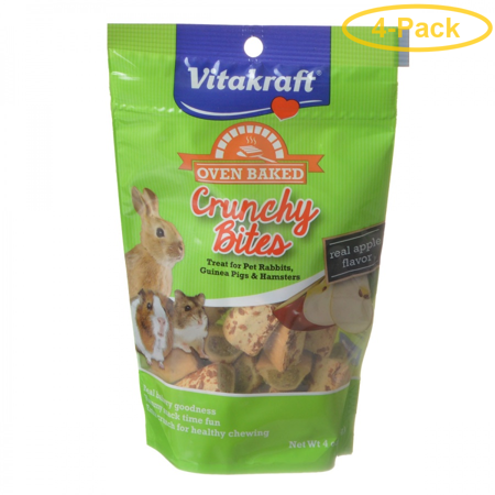 Small Crunchy Bites (Vitakraft Oven Baked Crunchy Bites Small Pet Treats - Real Apple Flavor 4 oz - Pack of 4 )
