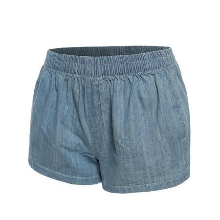 FashionOutfit Women's Basic Elastic Waist Denim Cotton Shorts