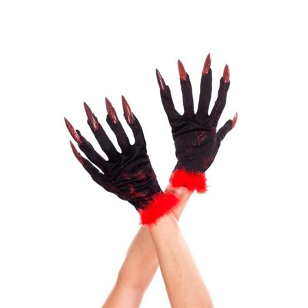 Music Legs 455-Black-Red Devil Gloves with Nails, Black & Red