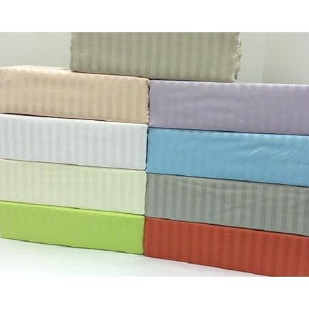 2795 Queen Silver/grey Luxury 310 thread count Cotton Rich Stripe Sheet Set -Queen-Silver/Grey