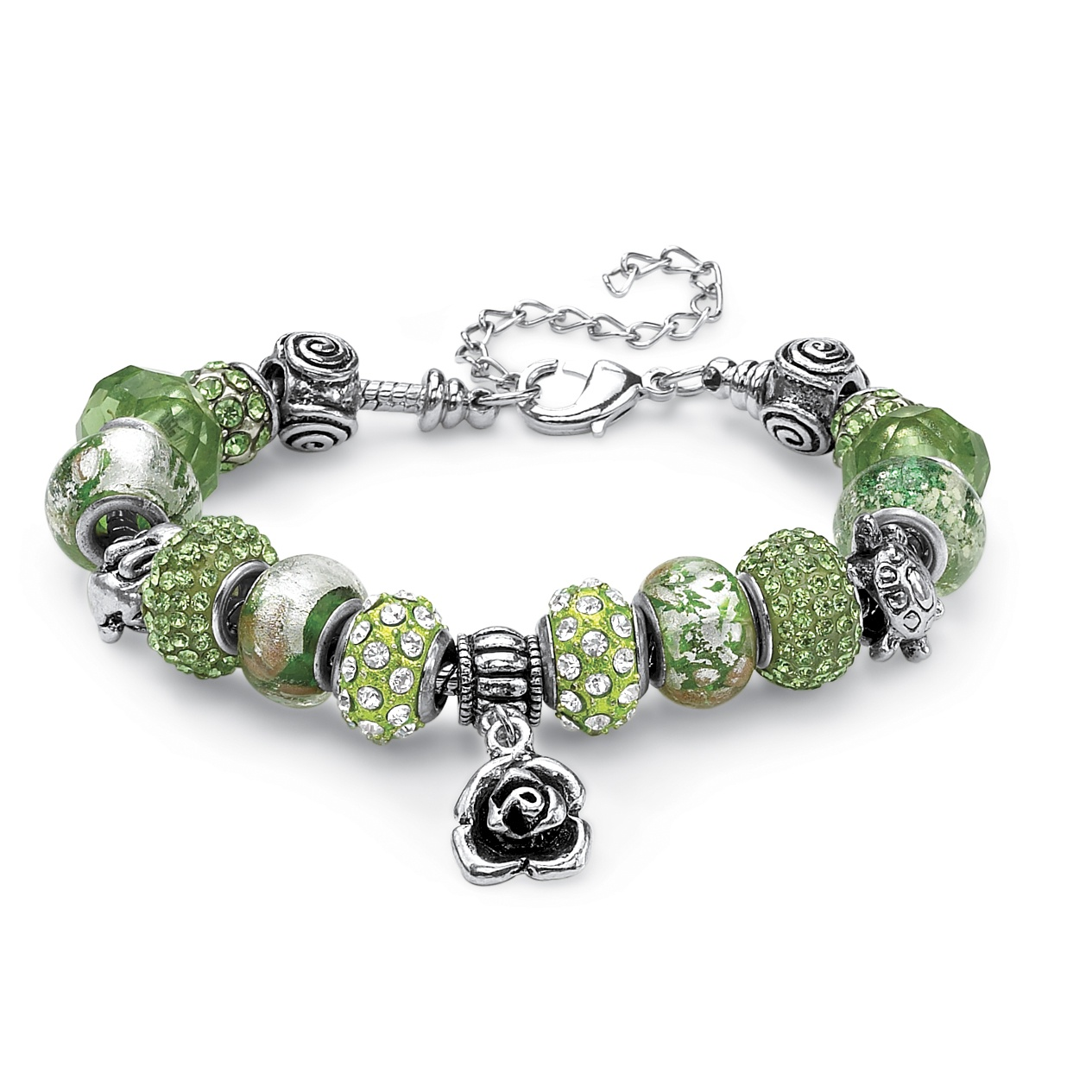 Green Crystal Bali-Style Beaded Charm and Spacer Bracelet in Silvertone 8""