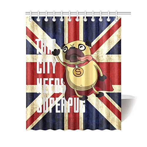 GCKG Funny Superpug Dog Shower Curtain Grunge Union Jack Flag Polyester Fabric Bathroom Sets With Hooks 60x72 Inches