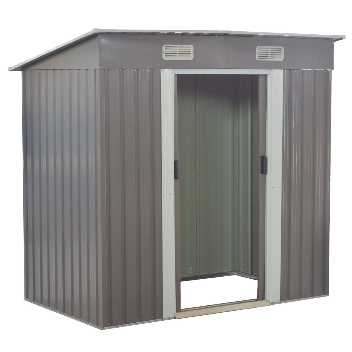 Costway 4x6FT Outdoor Garden Storage Shed Tool House Sliding Door Galvanized Steel Gray