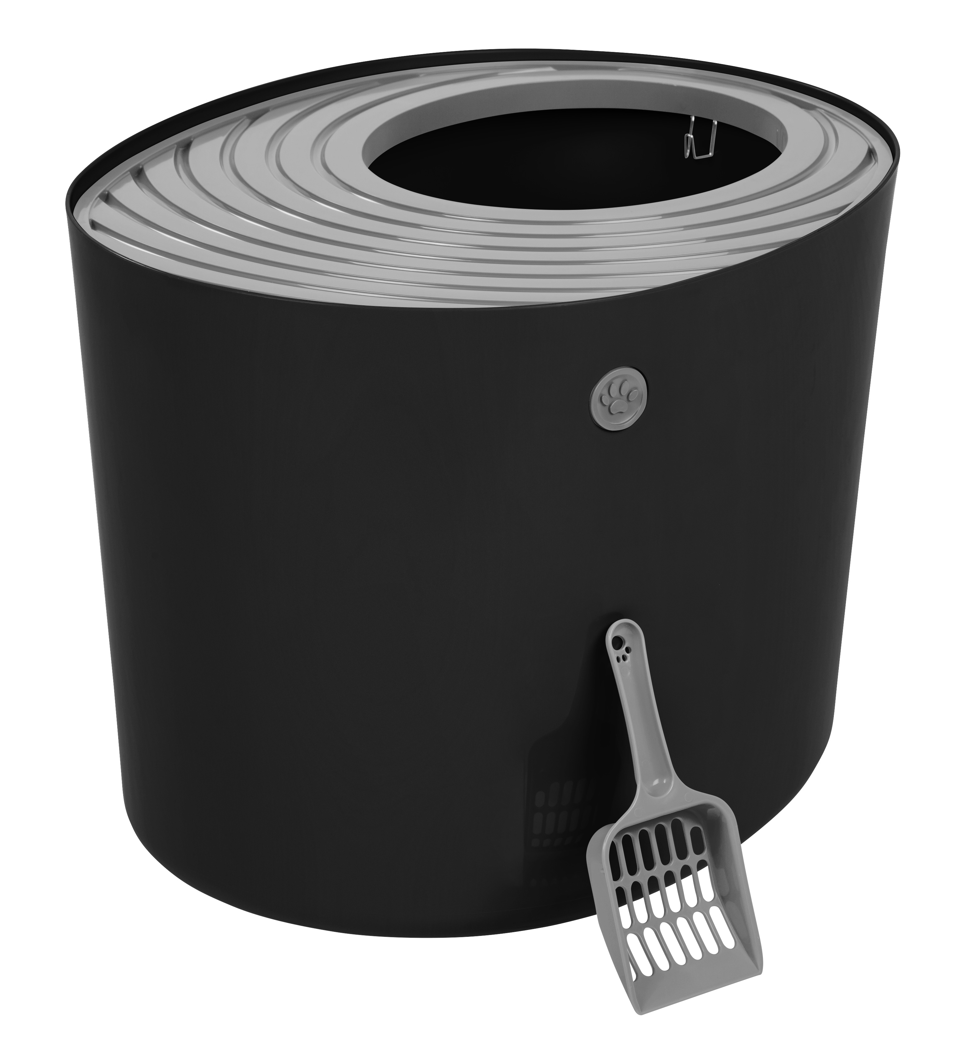 IRIS Top Entry Cat Litter Box, Black/Light Gray