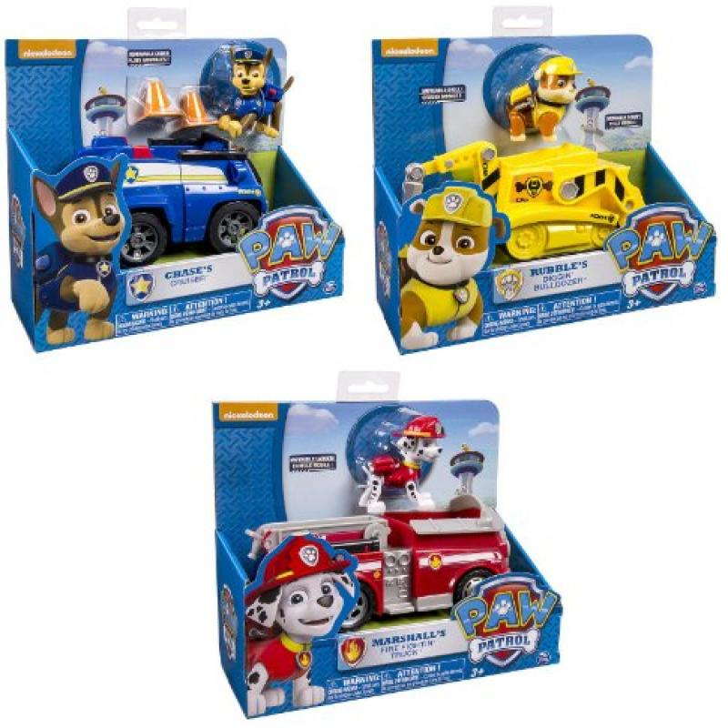Paw Patrol 3 Pack Playsets Chase's Cruiser Rubble's Bulldozer Marshall's Fire Fightin' Truck