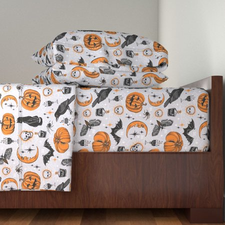 Vintage Halloween Vintage Retro 100% Cotton Sateen Sheet Set by Roostery