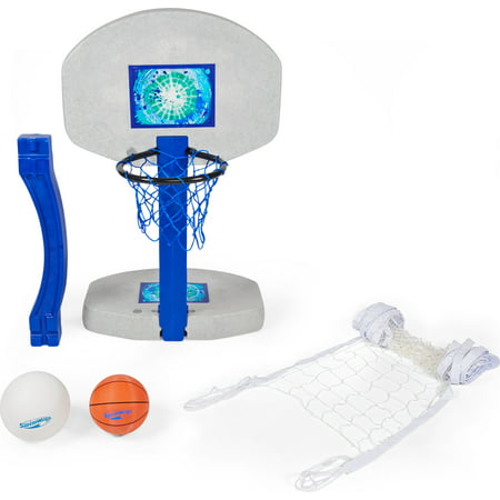 SwimWays 2 In 1 Pool Sport Combo Set, Outdoor Volleyball & Basketball Net For Swimming Pool