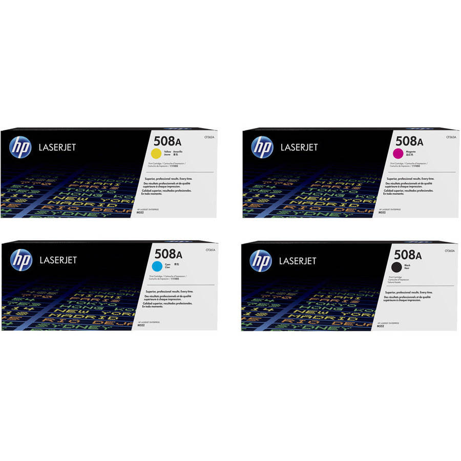 HP 508A Toner Cartridge Set, 4-Pack, Contains 1 Each CF360A, CF361A, CF362A, CF363A.