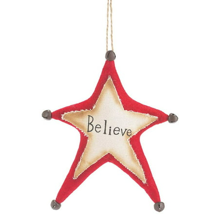 "8"" Fabric ""Believe"" Star Christmas Ornament ()"