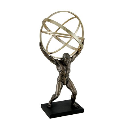 Atlas Carrying Celestial Sphere Bronze Finished Statue