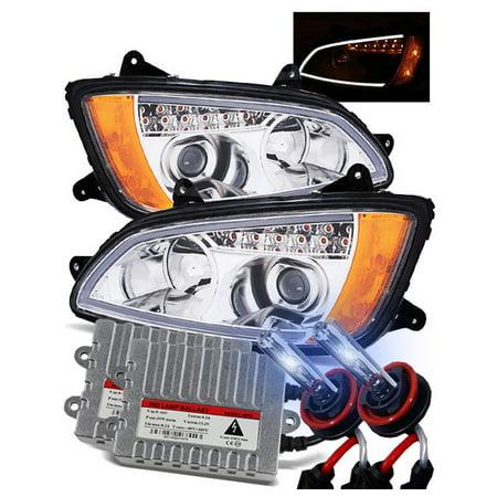 55W 8000K HID/For 08-15 Kenworth T170/T270/T370/T460/T660/T700 Plank Style  LED Light Tube Projector Headlights Chrome