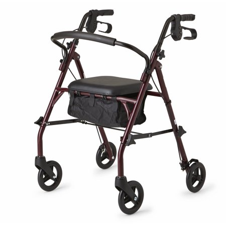 Medline Steel Rollator Walker, Burgundy, 350 lbs Capacity Aluminum 4 Wheeled Rollator