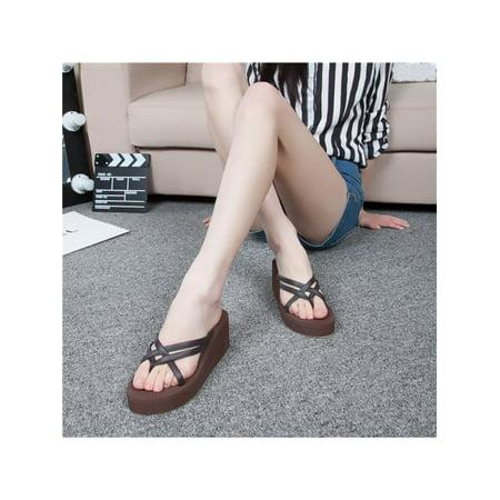 0f3d1af5f Meigar Womens Thong Strap Flip Flops High Heel Slippers Platform Summer