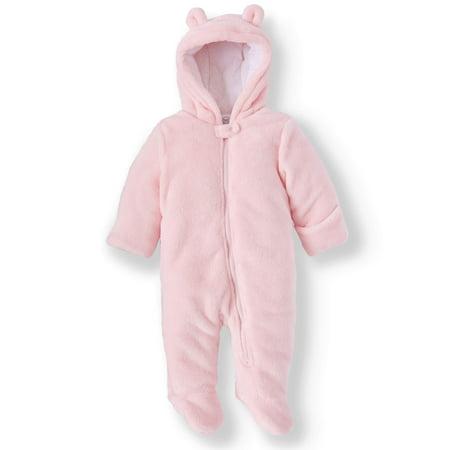 44115c86d Wonder Nation - Bear Ear Minky Plush Snowsuit Pram (Baby Girls ...