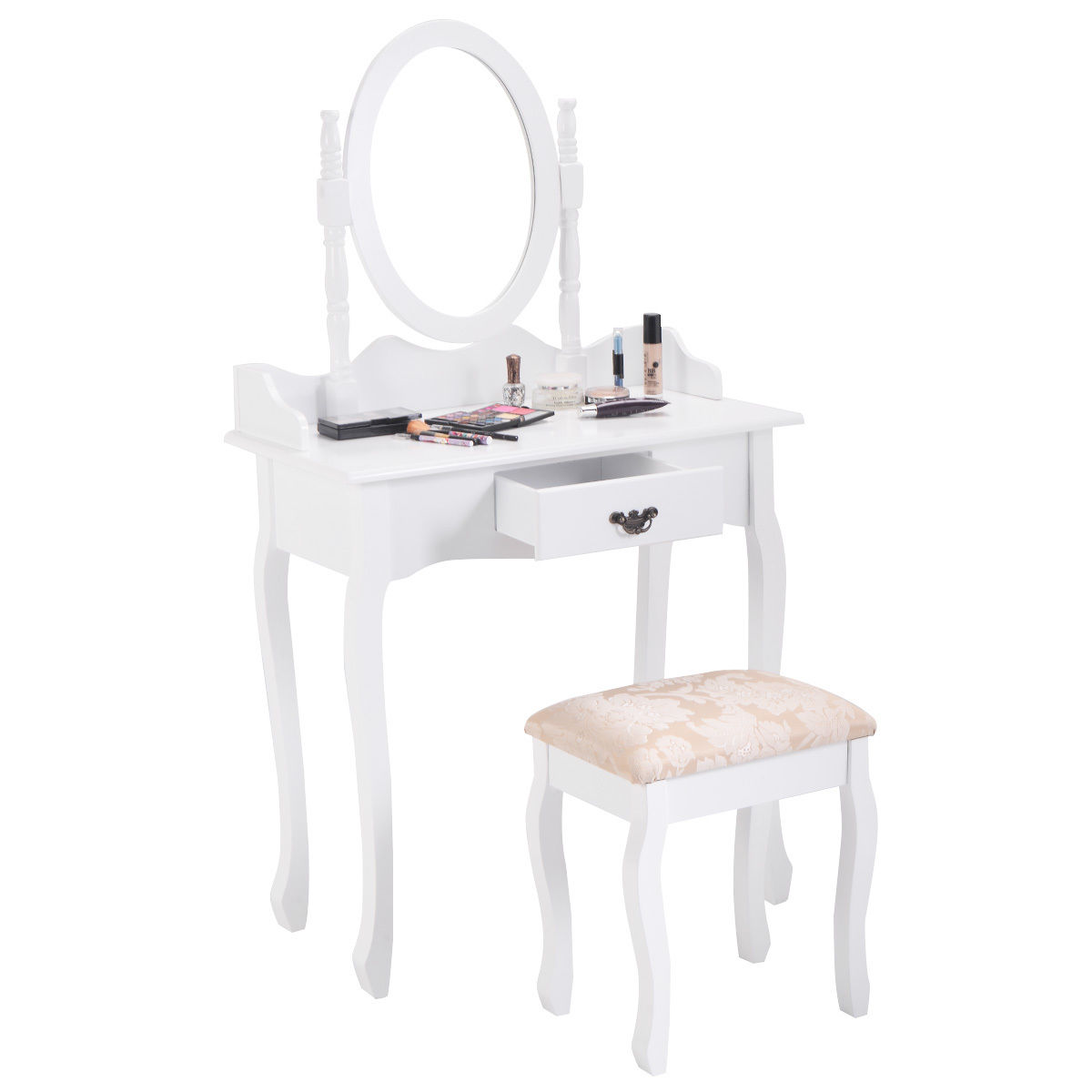 Costway Vanity Wood Makeup Dressing Table Stool Set Jewelry Desk W  Drawer &Mirror White by Costway