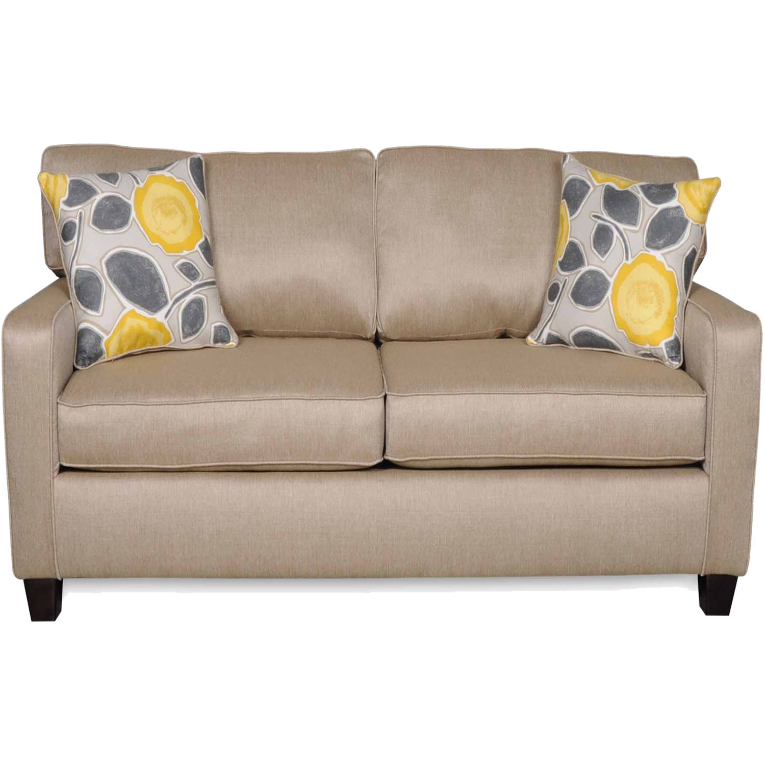 SoFab Darcey Beige Love Seat with 2 Reversible Accent Pillows