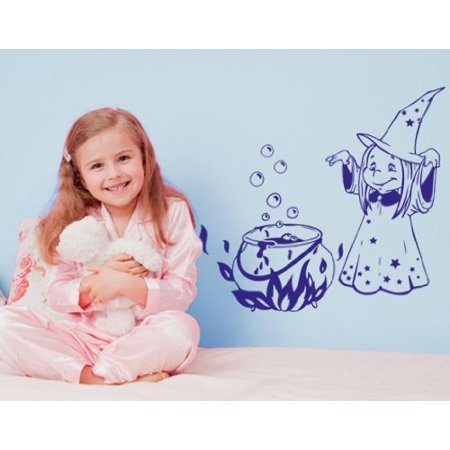 Halloween Magic Witch Wall Decal - Wall Sticker, Vinyl Wall Art, Home Decor, Wall Mural - 2245 - 16in x 12in, White - Halloween Home Decor Walmart