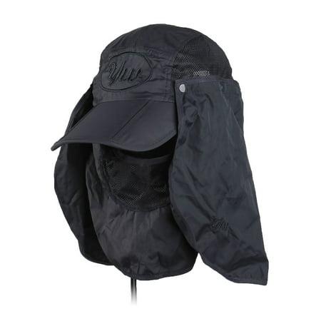 Women Adjustable Neck Strap Front Rear Cover Flap Sun Visor Hat