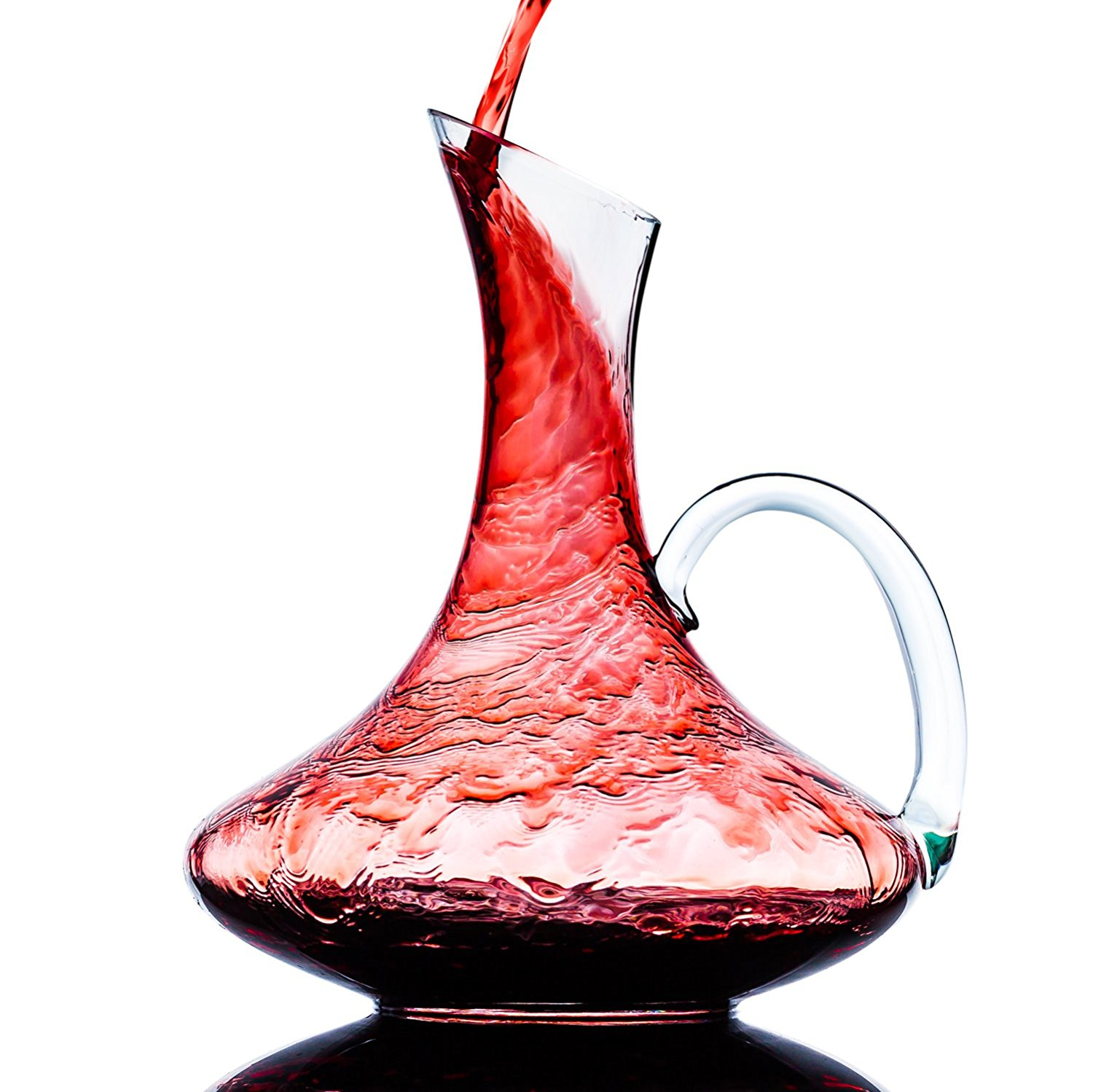 Culinaire 1800 ml ( 60.8 oz ) Crystal Glass Wine Decanter   Wine Carafe with Handle by Culinaire