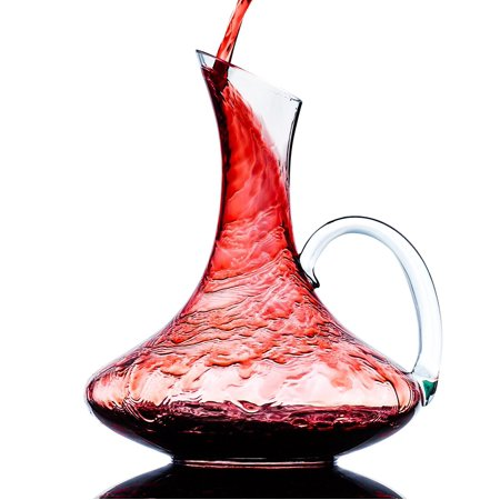 Culinaire 1800 ml ( 60.8 oz ) Crystal Glass Wine Decanter / Wine Carafe with Handle (Tall Crystal Decanter)