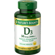 Nature's Bounty Vitamin D3 Softgels, 50 mcg, 2000 IU, 240 Ct