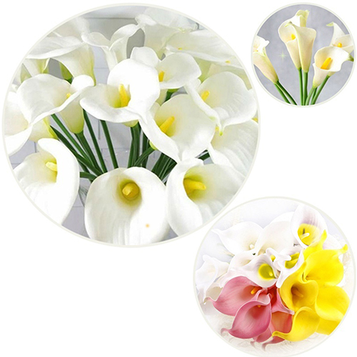 Moderna 5 Pcs Pack Calla Lily Bridal Wedding Bouquet Latex Real Touch Artificial Flower Decor
