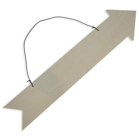 Blank Unfinished Wooden Arrow Plaque with Hanger 13.75 Inches