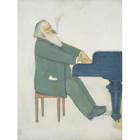 Abstract Figurative Paintings - Johannes Brahms at the Piano Classical Music Figurative Painting Print Wall Art By Willy von Beckerath