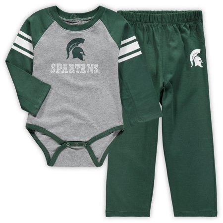 Michigan State Spartans Newborn Future Starter Long Sleeve Bodysuit and Pants Set - Gray/Green