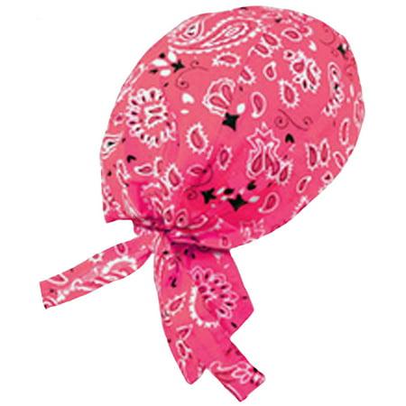 HOT PINK Paisley Doo Rag Durag Headwrap Cotton Chemo Bandana Skull Cap Mens - Paisley Doo Rag