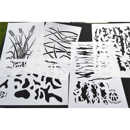 """5Pack! Airbrush Camouflage Stencils Camo Duracoat 14"""" Wheat, Tree Bark, +MORE"""