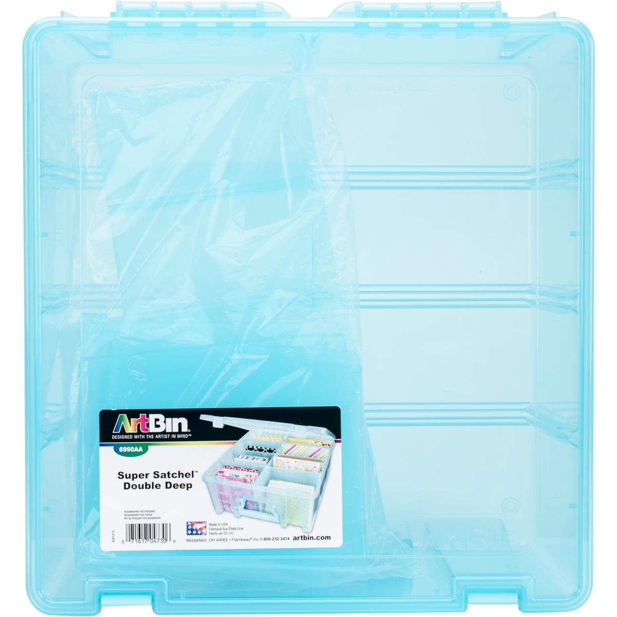 """ArtBin Super Satchel Double Deep Box W/Dividers 15.25""""X14""""X6.25"""" Aqua Mist"""