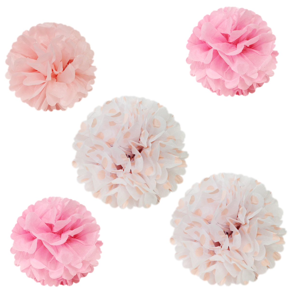 "Wrapables 12"" & 8"" Set of 5 Tissue Pom Poms Party Decorations for Weddings, Birthday Parties Baby Showers and Nursery Décor, Pink & Polka Dots"